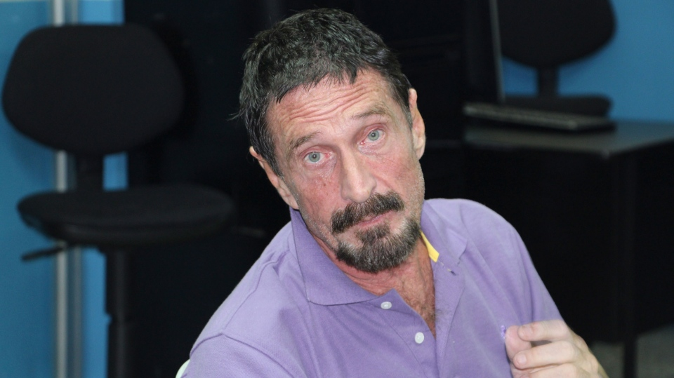 Software company founder John McAfee is pictured after being arrested for entering the country illegally in Guatemala City Wednesday Dec. 5, 2012. (Guatemala's National Police)