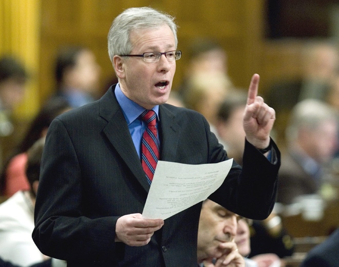 Liberal Leader Stephane Dion asks Harper about the allegations that party agents offered inducements to Chuck Cadman before a vote that could have toppled the former Liberal government in May 2005, during question period in Ottawa on Thursday, Feb. 28, 2008. (Tom Hanson / THE CANADIAN PRESS)