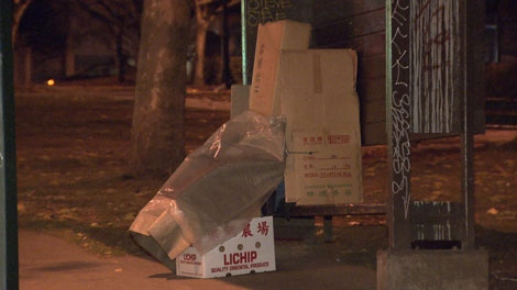 A homeless person sleeps inside a makeshift shelter in Vancouver. Nov. 23, 2010. (CTV)
