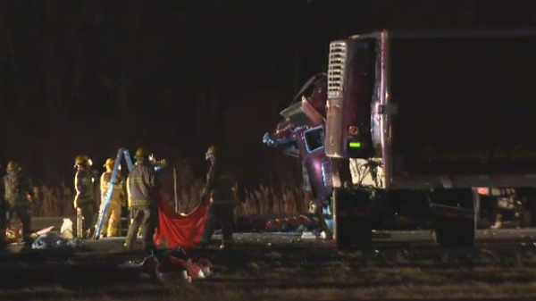 fatal truck crash Highway 20