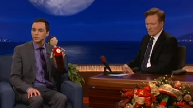 Jim Parsons, who plays Sheldon Cooper on The Big Bang Theory, shares the doll Canadian Jackie Laing crocheted for him on The Conan O'Brien show Wednesday night.
