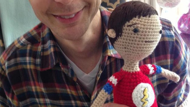 A close up of the crocheted Sheldon Cooper doll Jackie Laing, a Dawson Creek woman, made for actor Jim Parsons. SUPPLIED.