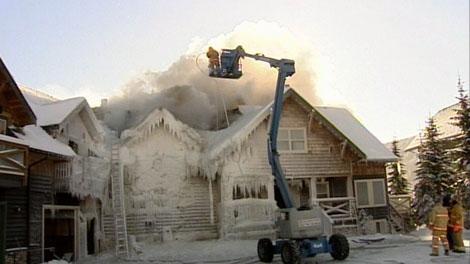 Firefighters battle a stubborn blaze at the Apex Resort near Penticton, B.C. Nov. 23, 2010. (CTV)