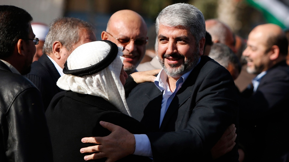 Exiled Hamas chief Khaled Mashaal upon his arrival at Rafah crossing in the southern Gaza Strip, Friday, Dec. 7, 2012. (AP / Suhaib Salem)