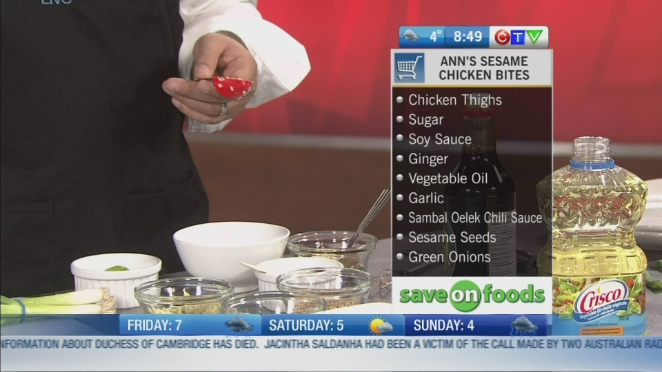 CTV BC Morning Live: Host Cooking Series: Ann shows us how to make sesame chicken bites