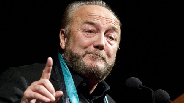 Former British MP George Galloway, initially barred from entering Canada, speaks at the University of Calgary, within immigration minister Jason Kenney's riding in Calgary, Alta., Tuesday, Nov. 23, 2010. (THE CANADIAN PRESS/Jeff McIntosh)