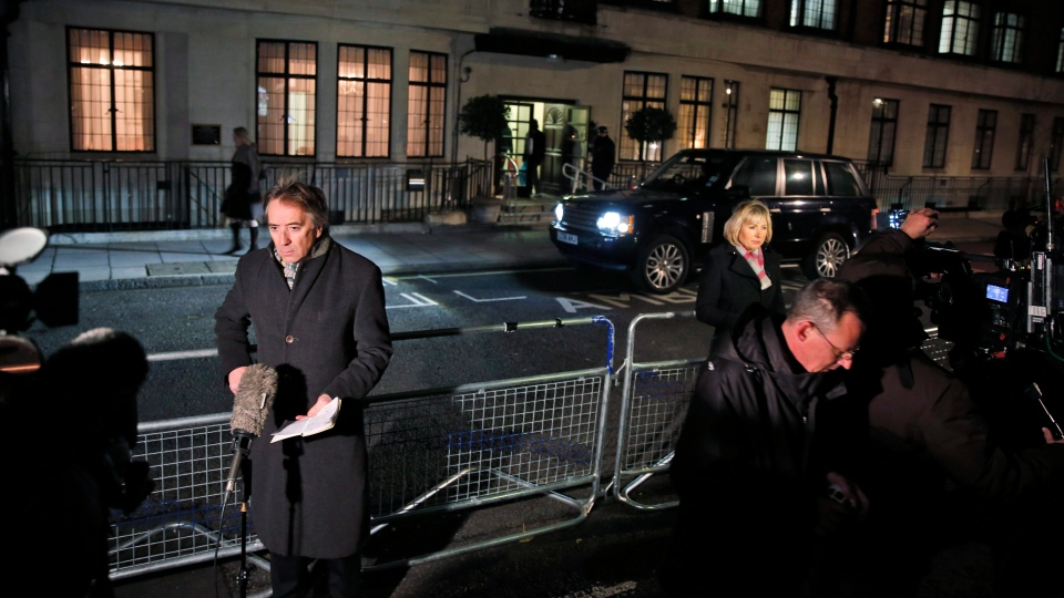 Members of the media opposite the entrance to the King Edward VII hospital in central London, Friday, Dec. 7, 2012. (AP / Lefteris Pitarakis)
