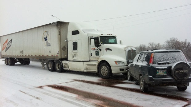 This semi-truck and an SUV collided near the Red River Bridge in a six-vehicle crash on Saturday afternoon.