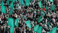 Hamas supporters gather during rally Dec. 8, 2012