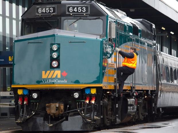 Via Rail locomotive in Ottawa, Dec. 3, 2012.