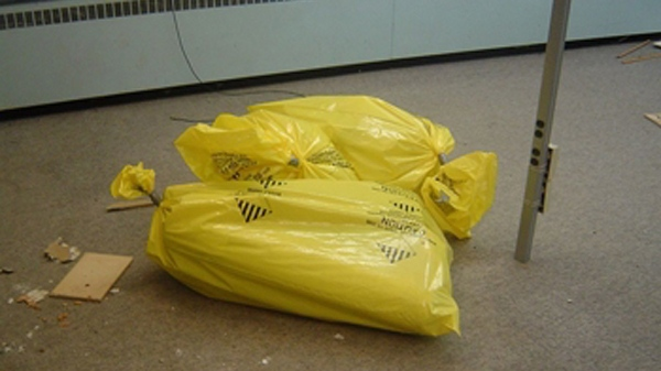 Bags of asbestos that were taken from a construction site in Cannington, Ont., released on Wednesday, Nov. 25, 2010.