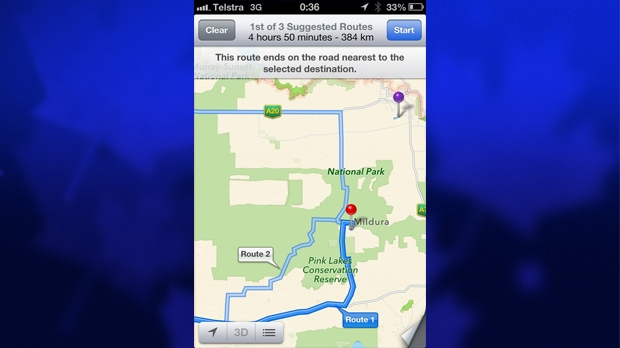Mildura, Australia search result in Apple Maps.