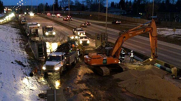 Crews have been working non-stop to fix a six metre long break in a water main on Crowchild Trail, one of the largest that the city has ever had to deal with.