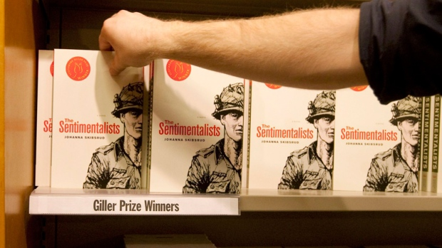 Copies of the 2010 Giller Prize-winning work 'The Sentimentalists' by Johanna Skibsrud are put on the shelves at Indigo Books and Music in Toronto, Thursday, Nov. 25, 2010. (Darren Calabrese / THE CANADIAN PRESS)
