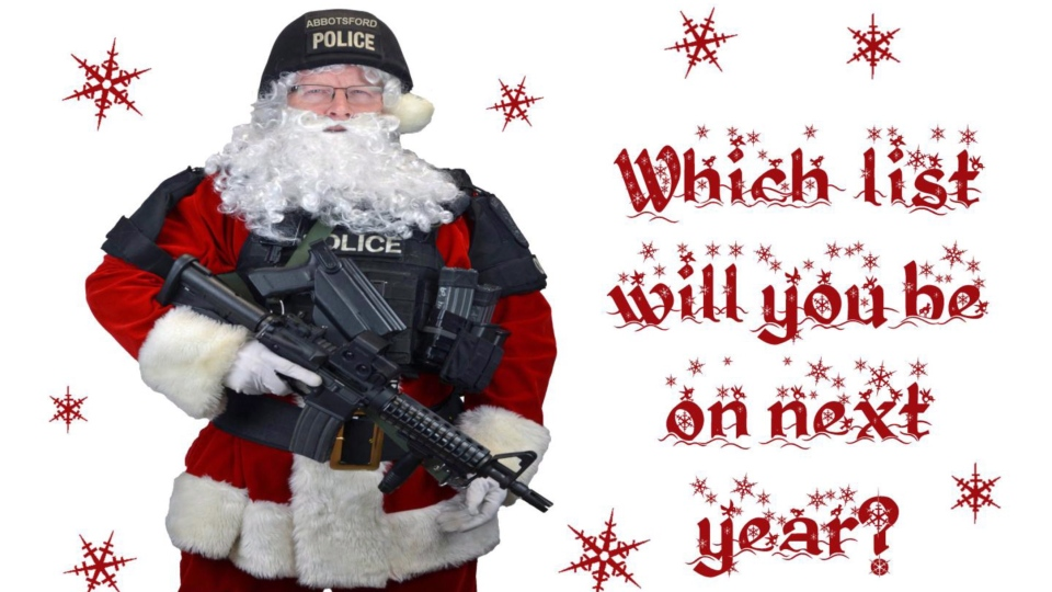 The front of a Christmas card issued by the Abbotsford, B.C. police department is shown in a handout photo. (THE CANADIAN PRESS/HO-Abbotsford Police Department)