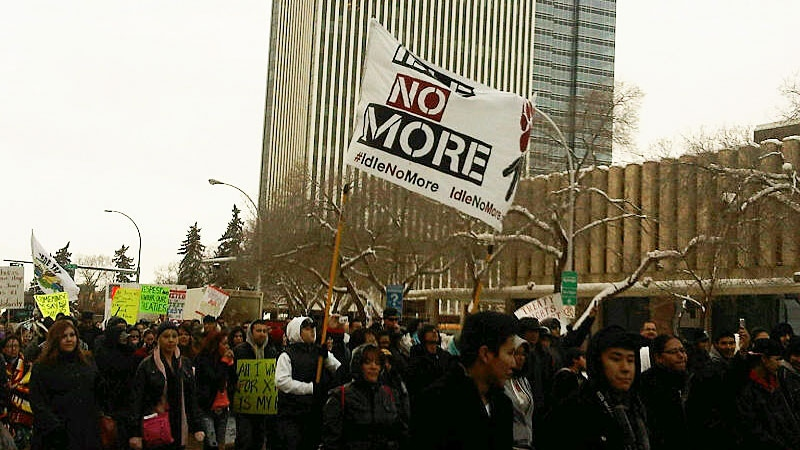 Hundreds of people in Edmonton joined countless more across the country on Monday for Idle No More rallies in opposition of the federal government's Bill C-45.