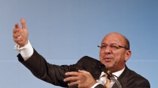 Trevor Manuel, South Africa's minister in the presidency in charge of the National Planning Commission, speaks during an opening press conference at the G20 Finance and Central Bank Governors Meeting in Busan, South Korea Friday, June 4, 2010. (AP Photo / Andy Wong)