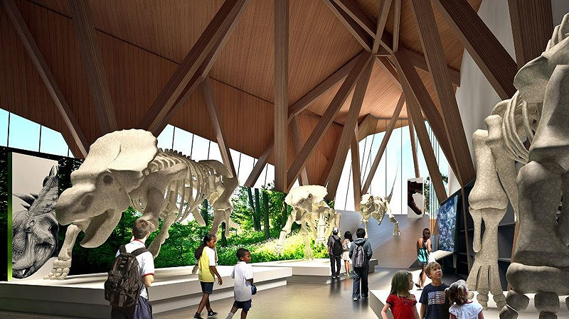 An artist's rendition shows what the Philip J. Currie Museum, which will be located on Hwy 43, about 22 km from Grande Prairie - doors are expected to open at the facility in June 2014. Supplied.