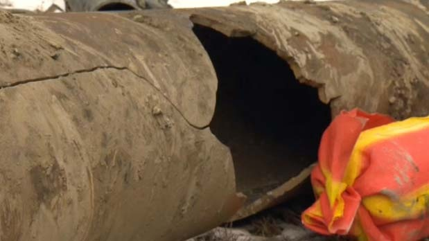 A two foot section of pipe burst.