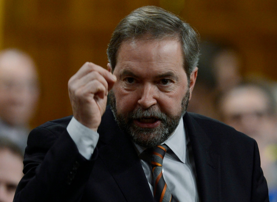 NDP Leader Tom Mulcair rises in the House of Commons on Parliament Hill in Ottawa on Monday, Dec.10, 2012. (Adrian Wyld / THE CANADIAN PRESS)