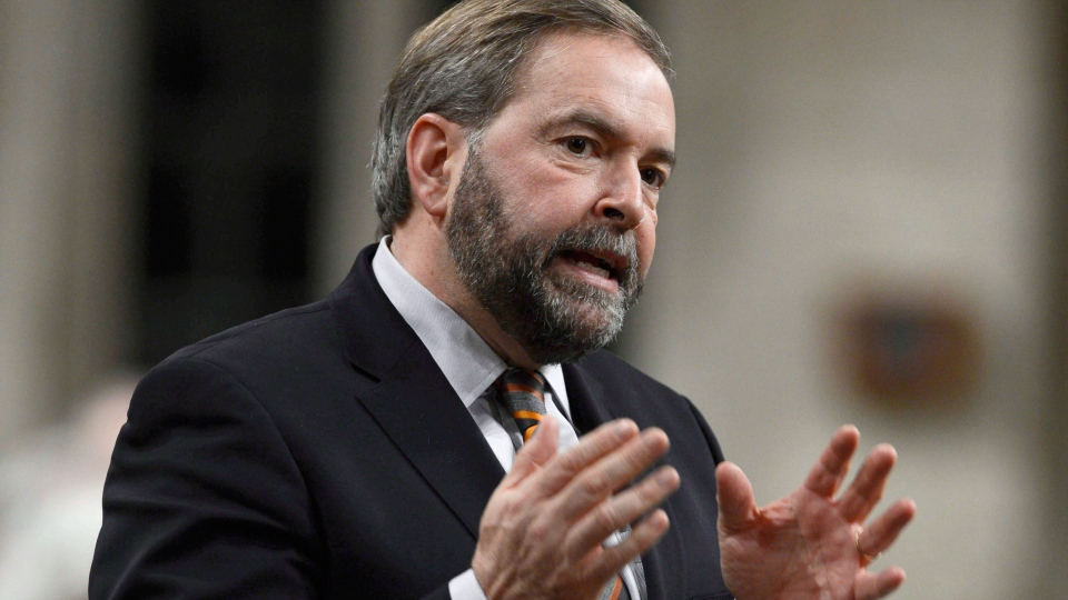 NDP Leader Tom Mulcair rises in the House of Commons on Parliament Hill in Ottawa on Monday, Dec. 10, 2012. (Adrian Wyld / THE CANADIAN PRESS)