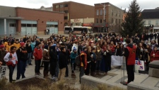 Student hold rally in Waterloo