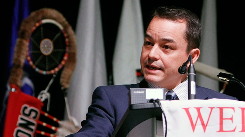 Assembly of First Nations national Chief Shawn A-in-chut Atleo addresses the Special Chiefs Assembly at the conclusion of the conference in Gatineau, Quebec, Thursday December 6, 2012. (Fred Chartrand / THE CANADIAN PRESS)