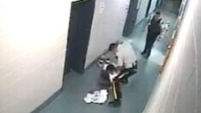 Cell block video shows an RCMP officer beating a prisoner at the Lac La Biche RCMP detachment on Sept. 13, 2009.