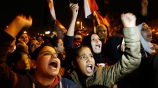 Protesters chant slogans Cairo Egypt