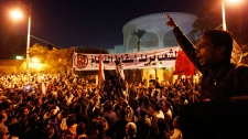 Protesters chant slogans demonstration