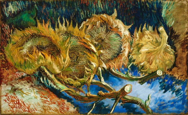 'Four sunflowers gone to seed' by Vincent van Gogh