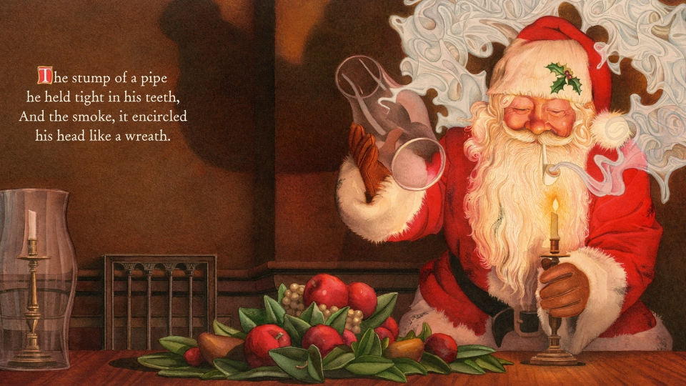 "This illustration shows an image of Santa Claus smoking a pipe from the book ""The Night Before Christmas,"" illustrated by Charles Santore. A new book version of ""Twas the Night Before Christmas"" has been released that eliminates all references to a smoking Santa. (Applesauce Press)"