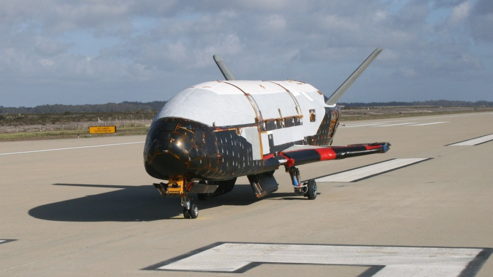 X-37B Orbital Test Vehicle during testing at the Astrotech facility in Titusville, Fla. (NASA)