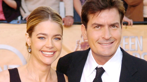 Charlie Sheen with then-wife Denise Richards for the 11th annual Screen Actors Guild Awards in Los Angeles, Feb. 5, 2005. (AP / Chris Pizzello)