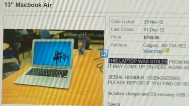 Ghanem listed the laptop for sale on kijiji.