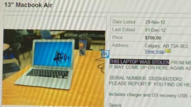 Ghanem listed the laptop for sale on kijiji.