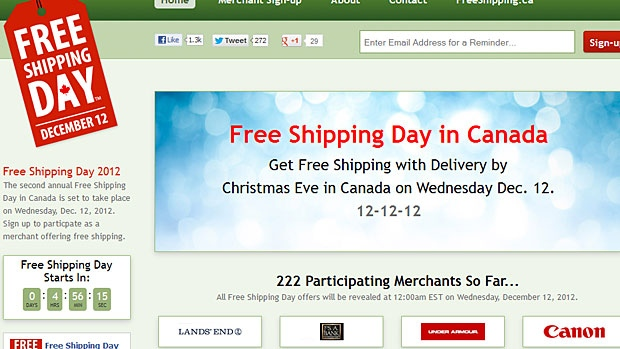 Free Shipping Day in Canada is on Dec. 12, when more than 200 retailers will be offering free shipping and other deals for online shoppers.