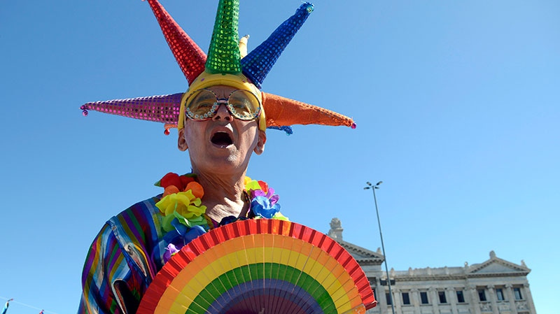 An activist wearing gay pride colors stands outside Parliament where lawmakers are debating a same sex marriage law in Montevideo, Uruguay, Tuesday, Dec. 11, 2012. (AP / Matilde Campodonico)