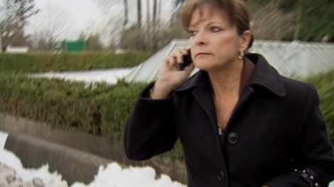 Carol Berner leaves Surrey Pretrial Centre after being granted bail. Nov. 26, 2010. (CTV)