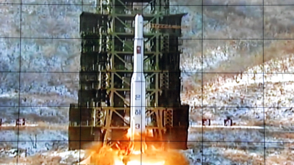A screen at the General Satellite Control and Command Center shows the moment North Korea's Unha-3 rocket is launched in Pyongyang, North Korea, Wednesday, Dec. 12, 2012. (AP)