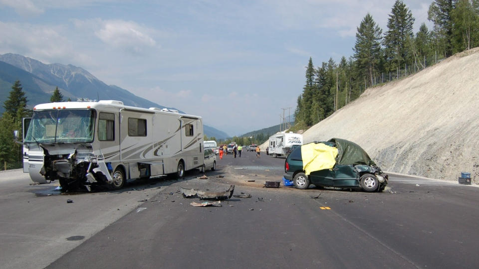 Driver fatigue was investigated as a factor in this fatal accident involving a motorhome and a minivan near Golden, B.C.(RCMP)
