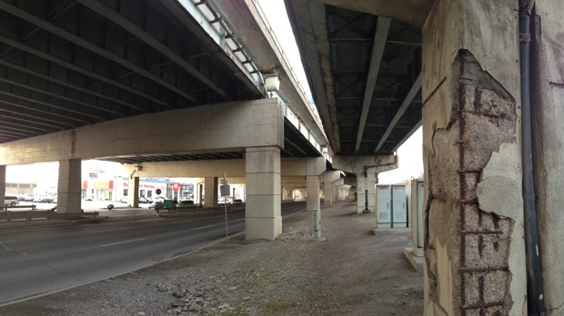 Lake Shore Boulevard is pictured under the Gardiner Expressway on Wednesday, Dec. 12, 2012. (Mathew Reid/CP24)