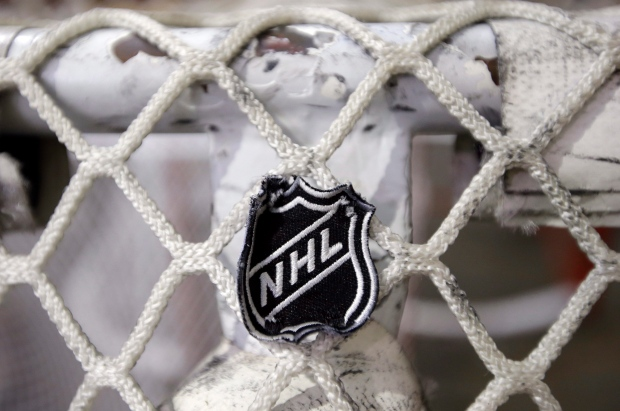 The NHL logo is seen on a goal net.