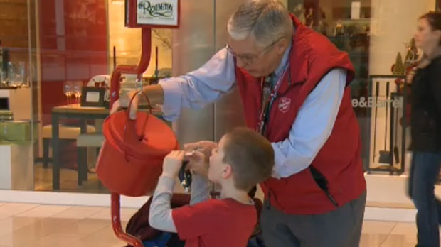 Ken Thwaites has been ringing the bell at a Southcentre Mall Salvation Army Kettle for the past twelve holiday seasons