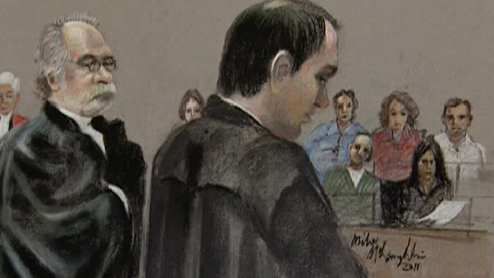 This court sketch shows Dr. Guy Turcotte testifying in 2011.