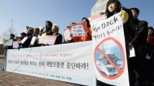 Pro-unification supporters rally outside the 2nd fleet naval base demanding to halt the joint military exercises with the United States, Sunday, Nov. 28, 2010, in Pyeongtaek, South Korea. (AP / Wally Santana)