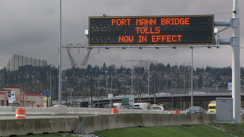Tolls are now in effect on the new Port Mann Bridge. December 12, 2012. (CTV)