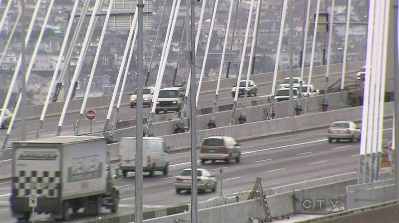 Drivers cross the Port Mann Bridge in this CTV News file image.