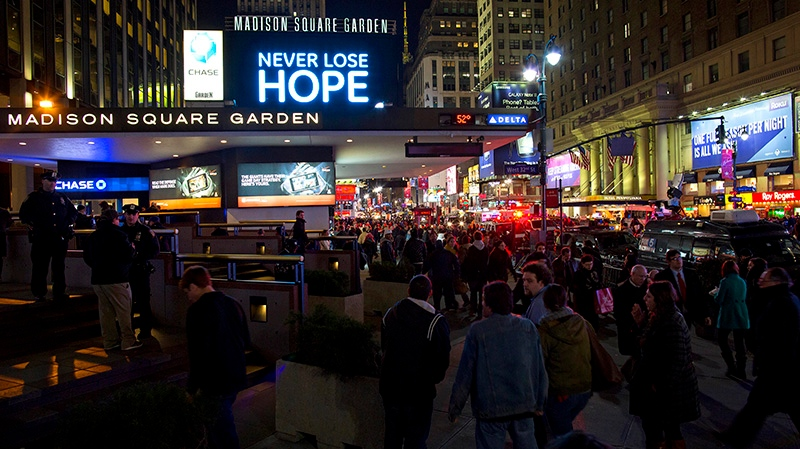 "People gather before the ""12-12-12"" benefit concert at Madison Square Garden in New York Wednesday, Dec. 12, 2012. Music royalty from the Rolling Stones to Kanye West are gathering at Madison Square Garden Wednesday for a benefit concert to help storm victims. (AP / Craig Ruttle)"
