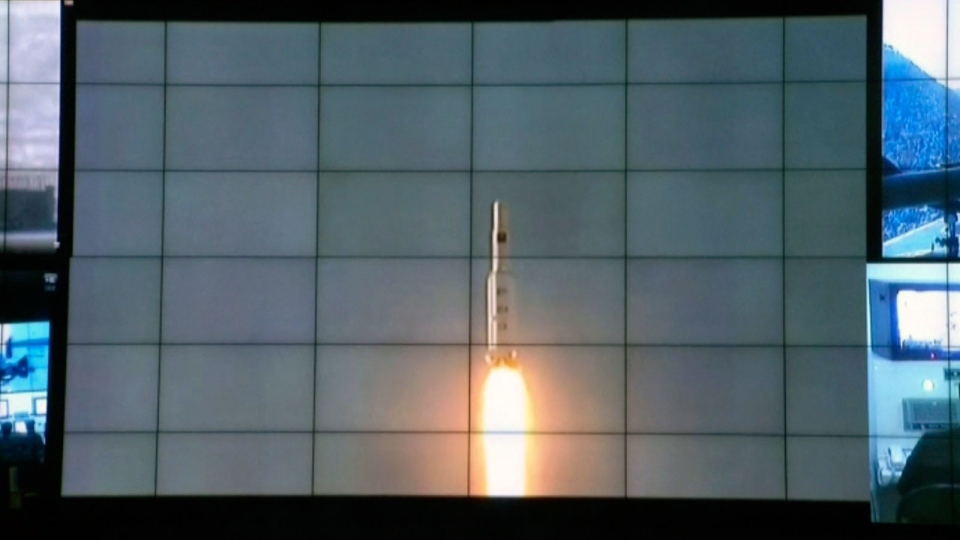 A screen shows the Unha-3 rocket launch at North Korea's space agency's General Launch Command Center on the outskirts of Pyongyang, Wednesday, Dec. 12, 2012. (AP via APTN)